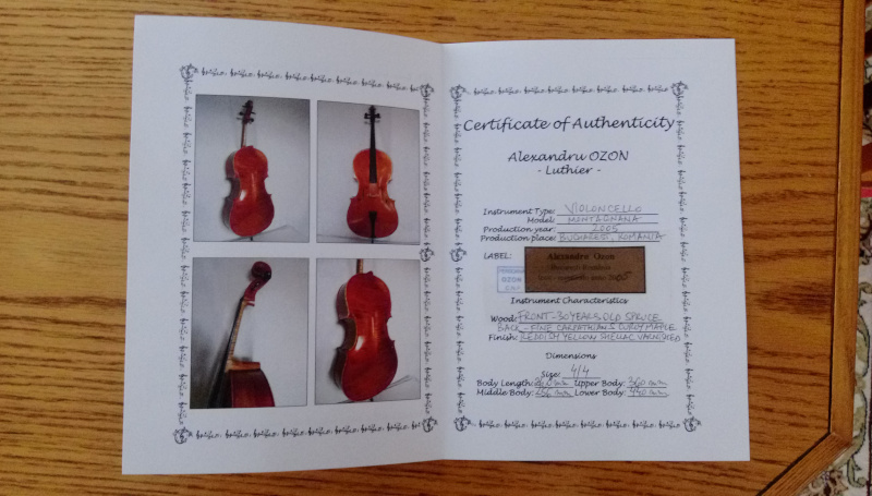 Montagnana Cello Authenticity Certificate Flocello Hamilton